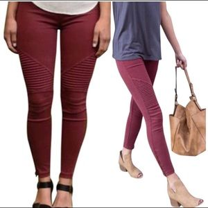 New Burgundy Moto Fitted Jeggings High Waist pants